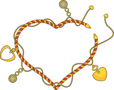 Heart shape frame as Trendy braselet with chains, pendants, straps and ropes. Jewelry Luxurious accessories. Fashon collection for woman. Outline Flat vector on white background. Illustration