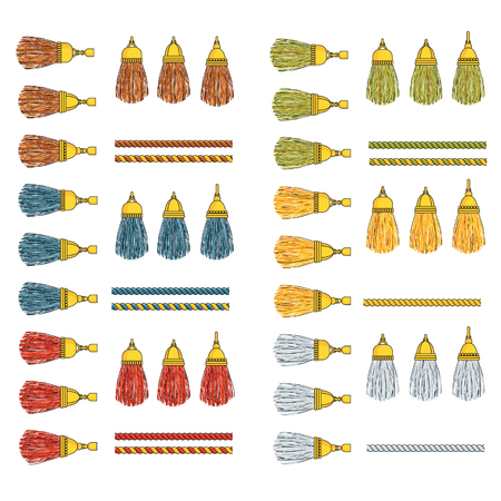 Set of heavy silk tassels with gold fittings on twisted colored cords. For decorating clothing, jewelry and interior items, curtains, furniture. Outline flat vector illustration on white background. Vetores