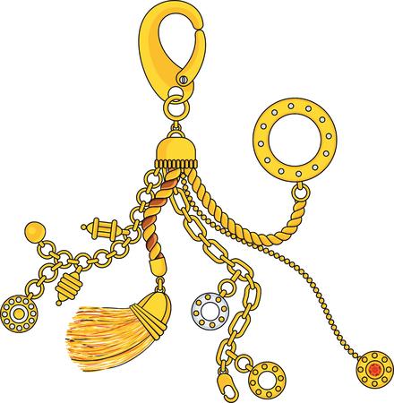 Pendentif tendance avec chaînes, pendentifs, sangles et cordes. Bijoux Accessoires de luxe. Collection de mode pour femme. Contour plat vecteur sur fond blanc.