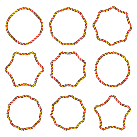 Collection of round outline decorative rope border frames Vetores