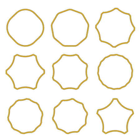 Collection of round outline decorative rope border frames