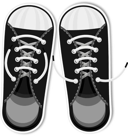Schwarze Turnschuhe. Urbane Sportschuhe für Jugendliche. Modeaccessoires, Retro-Stil, Hipster. Flache Vektor-Cartoon-Illustration. Objekte isoliert auf weißem Hintergrund. Vektorgrafik