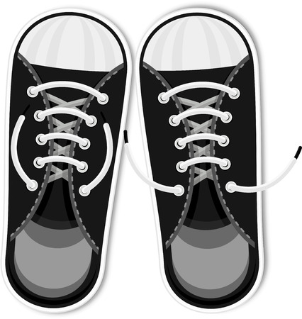 Black sneakers. Youth urban sports shoes. Fashion accessories, retro style, hipsters. Flat vector cartoon illustration. Objects isolated on a white background.