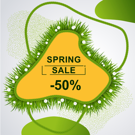 Abstract banner template for spring sale. Lawn with green grass and daisies. Big sale special offer. Vector illustration Stock Illustratie
