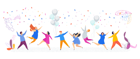 Tiny people have fun dancing. Enchanting party, corporate event, birthday or celebration of the new year and Christmas. Joyful smiling male and female faces. Flat vector illustration. Illustration