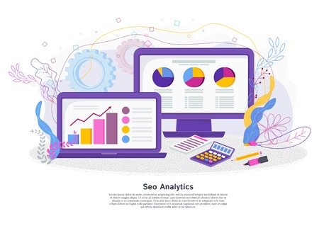 Seo analitics concept. Programs and applications for SEO site optimization, marketing research, obtaining analytical reports on the work on the Internet. Flat vector illustration. Illustration