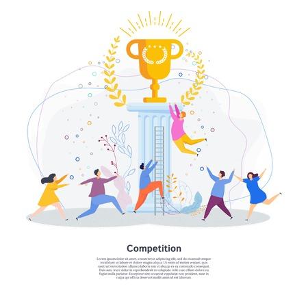 Winzige Leute laufen ein Rennen um den goldenen Siegerpokal. Metapher für Wettbewerb, Kampf um Erfolg, Anerkennung und Ruhm. Flache Vektorgrafik für Website, Zielseite oder Druck und Präsentation. Vektorgrafik