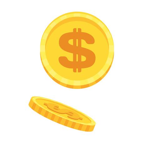 Gold money cash dollar coins. Bank and Finance. Vector Illustration