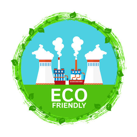 Urban ecology. Eco friendly chemical and metallurgical industry. Preserving clean air. Flat vector concept.