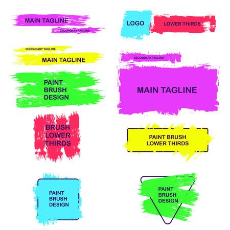 Les tiers inférieurs des coups de pinceau sont peints. Zones de texte pour les inscriptions.