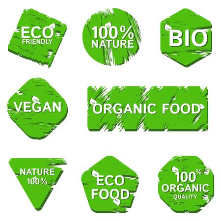 Loghi per marchi di prodotti biologici naturali Vettoriali