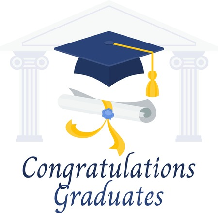 Congratulations graduates banner. Diploma and graduation cap on the background of the silhouette of the building of the university