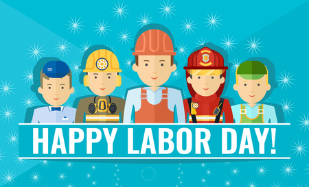 International labor day. Happy labor day poster or flyer template with group of people of different professions. Holiday flat vector.