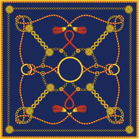 스퀘어 패션 여성 스카프를 위한 체인 패턴 디자인. 흰색 배경에 장신구와 메달이 달린 금 사슬, 실크 술, 끈, 버클이 있는 장식용 코드. 평면 개요 그림 벡터 (일러스트)