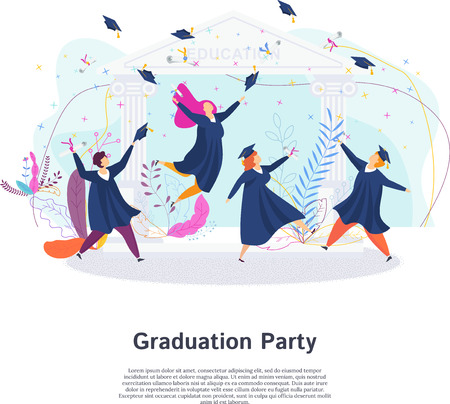 Graduation party. Group of happy students. Throw up mortarboards and diplomas. Boys and girls celebrating university graduation. Flat vector concept. Ilustrace