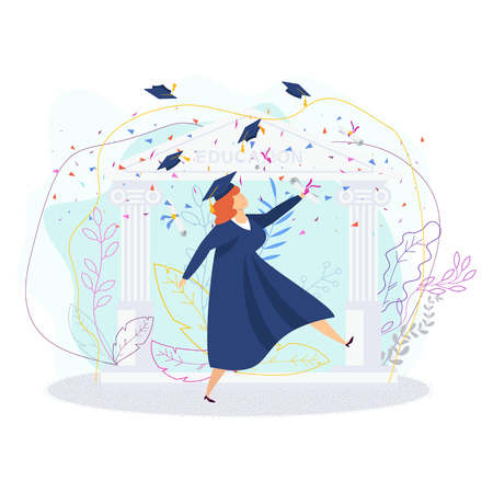 Graduating students. Group of fun people. Boys and girls are happy dancing, laughing and jumping. Throw up mortarboards and diplomas. Celebrating university graduation. Flat vector concept.