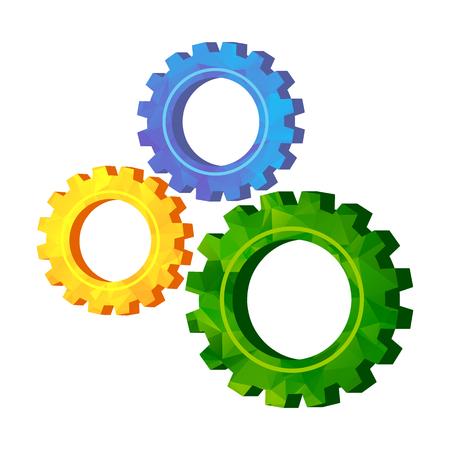 Gold modern polygonal triangle gears. Teamwork concept. Vector Illustration