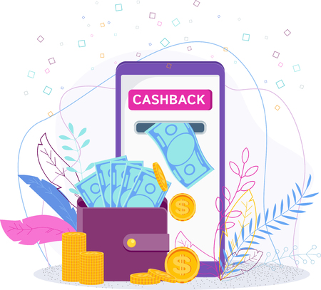 Cashback - refund for the purchase in the online store. Shopping on websites on the Internet using mobile applications. Savings, Coins and banknotes fall into wallet.