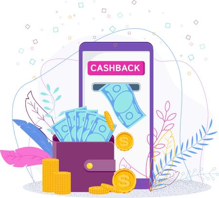 Cashback - remboursement de l'achat dans la boutique en ligne. Achats sur des sites Web sur Internet à l'aide d'applications mobiles. L'épargne, les pièces et les billets tombent dans le portefeuille.