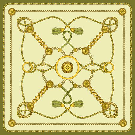 Diseño de bufanda cuadrada con estampado de cadena. Accesorio de moda