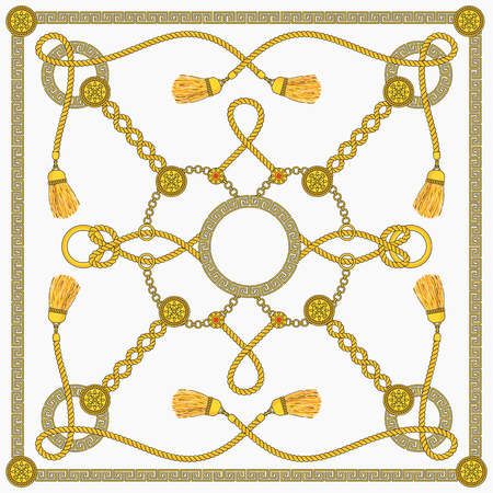 Chain patten design for square fashion women scarf. Gold chains with ornaments and medallions, decorative cords with silk tassels, straps and buckles on a white background. Flat Outline Illustration