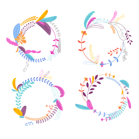 Round floral frame set. Floral elements for greeting cards, wedding invitations. Pattern for packaging and design of cosmetics and beauty products Ilustrace