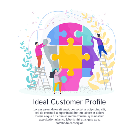 Tiny People Create Ideal Customer Profile. Customer information to create a marketing strategy and tactics to promote a brand, product, service. Illustration