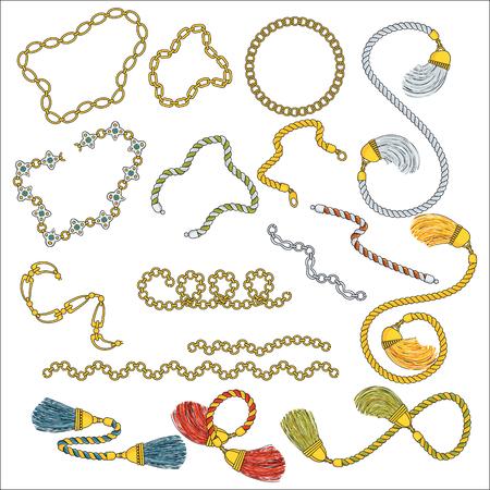 Set aus trendigen Anhängern und Ketten, Riemen und Seilen. Schmuck Luxuriöse Accessoires. Fashion-Kollektion für Frauen. Flacher Vektor der Gliederung auf weißem Hintergrund.