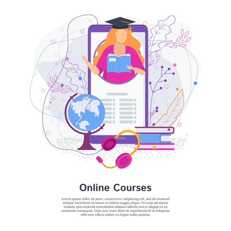Mobile educational app. Teacher gets out of the phone screen. Headphone audio course. Flat vector concept.