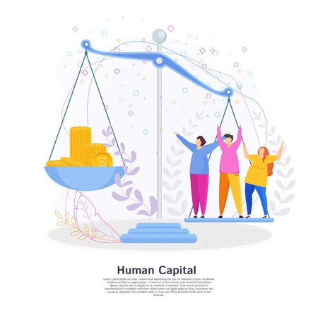 Human Capital Concept. People and money on the scales. The team of employees is valued more than money. Ilustrace