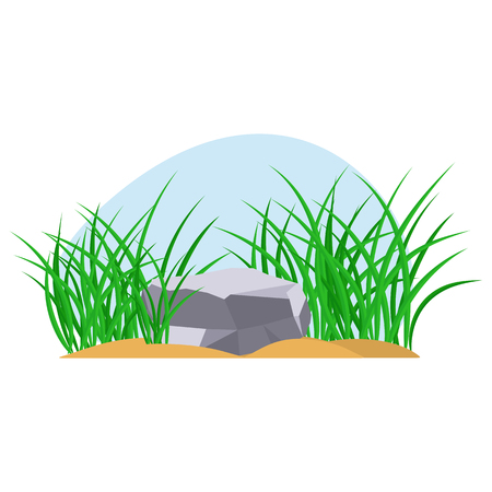 Bunches of green grass on an earthen mound. Design of summer cards. Flat cartoon illustration. Objects isolated on a white background. Ilustrace