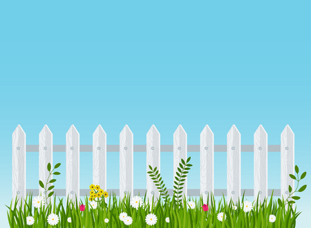 A wooden fence, a hedge near with a flower bed. Scene, landscape in the village or in the country. Garden and garden tools. Flat vector illustration.