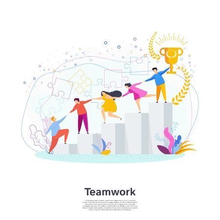 Effective teamwork. Concept of victory and success.