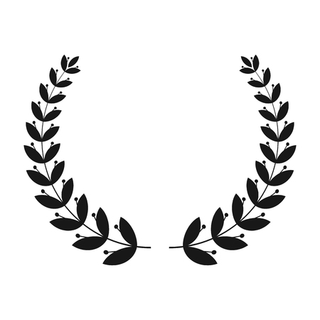 Silhouettes of laurel wreath. The symbol of victory.