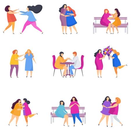 European Lesbian woman couples. Flat cartoon style. Illustration