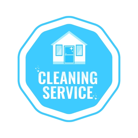 Cleaning service logo with house. Flat vector illustration.