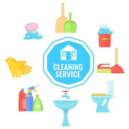 Banner template with home and office cleaning tools.