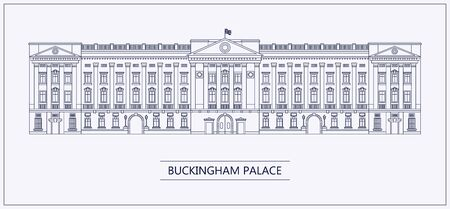 London Buckingham palace outline flat Çizim