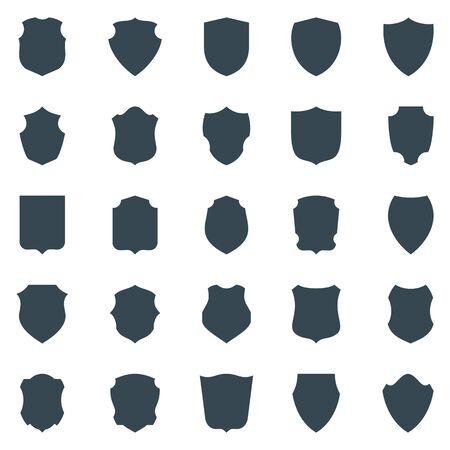 Conjunto de silueta negra de escudo aislado en blanco