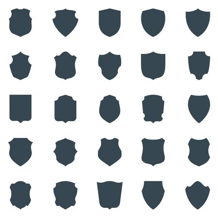 Set of black silhouette of shield isolated on white