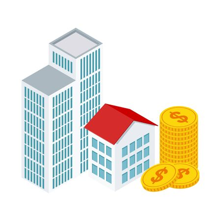 Small isometric houses and money stack. Real estate concept.