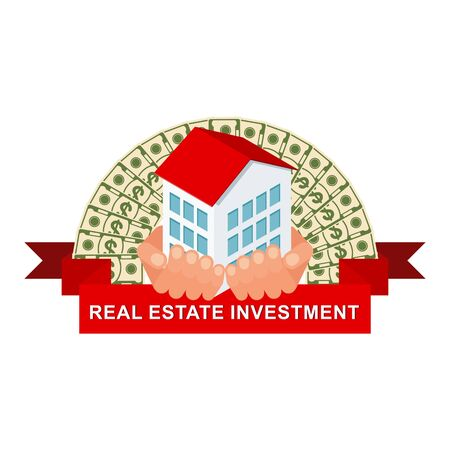 Isometric house in hand against the background of a fan of money. Real estate investment logo. Çizim