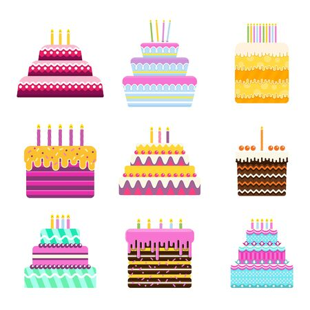 Set of bright birthday cake. Fruit and chocolate sweet pastries. For cards with wishes and greetings. Celebrating the anniversary of the birthday. Flat vector icon.