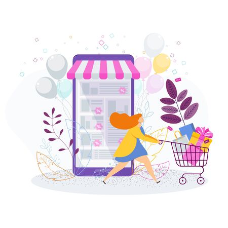 Woman with shopping trolley, bags and gifts. Ilustração