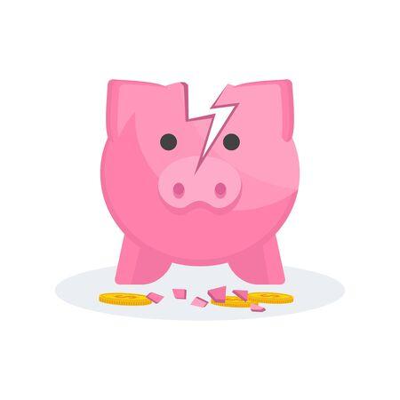 Tirelire Cochon Cassé. Paiement de la dette, des frais et de la faillite.