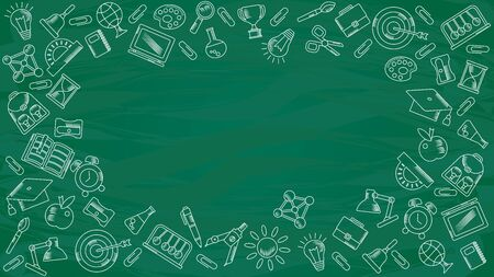 School background. Green board with hand-drawn chalk school supplies.
