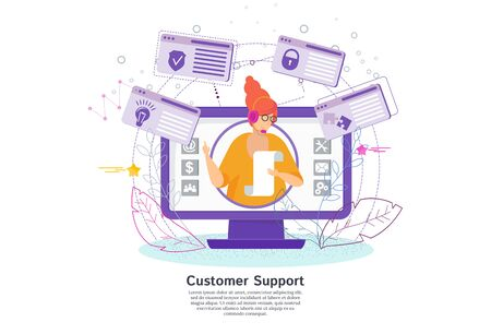 Hotline operator advises client. Online global technical support. Çizim