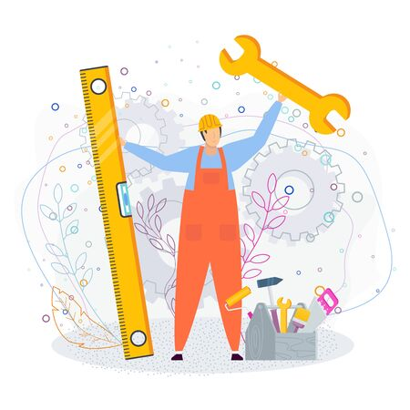 Technical support concept. Customer service. Man in a working helmet and overalls with huge tools in hand. He help in solving technical problems. Flat cartoon illustration on white background.