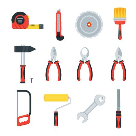 Tools for building construction, home repair in wooden toolbox. Hammer and pliers, saw and tape measure, brush and file. Flat vector icons for households, service providers isolated on background.