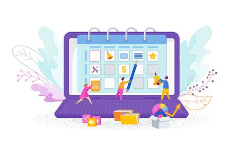 Tiny people near the huge calendar on laptop screen. Make a schedule of affairs for the month. Planning events, business meetings, payments and important messages. Trendy flat vector style.